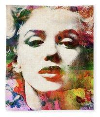 Marilyn Monroe Close-up Watercolor Portrait Fleece Blanket