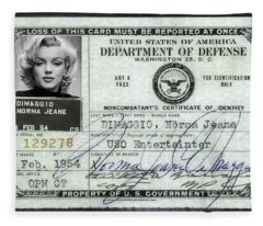 Marilyn Monroe Dept Of Defense Identification Card 1954 Fleece Blanket