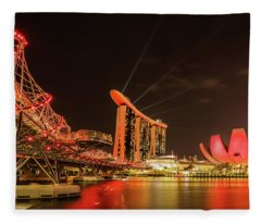 Fleece Blanket featuring the photograph Marina Bay Sands by Chris Cousins
