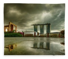 Fleece Blanket featuring the photograph Marina Bay Sands Hotel by Chris Cousins