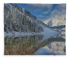 Maroon Bells Reflection In The Maroon Lake With Fresh Snow Aspen Colorado Usa. Fleece Blanket
