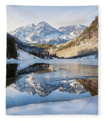 Maroon Bells Reflection Winter Fleece Blanket
