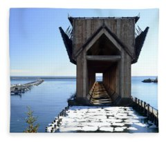 Marquette Ore Dock Cathedral Fleece Blanket