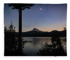 Mars Over Mt. Jefferson Fleece Blanket