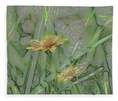 Marsh Flower Abstract Fleece Blanket