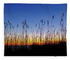 Marsh Grass Silhouette  Fleece Blanket