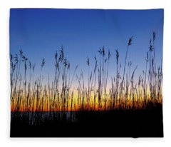 Marsh Grass Silhouette  Fleece Blanket
