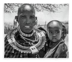 Masaai Mother And Child Fleece Blanket