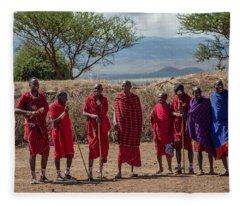Maasai Men Fleece Blanket