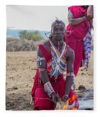 Maasai Warrior Fleece Blanket