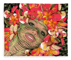 Mask Freckles And Flowers Fleece Blanket