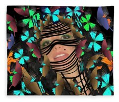 Mask Of Butterflies And Bondage Fleece Blanket
