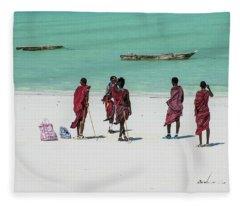 Massai At The Beach Fleece Blanket