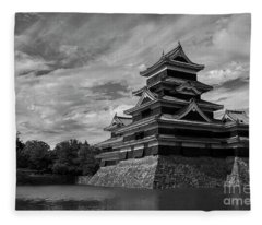 Matsumoto Castle Japan Black And White Fleece Blanket