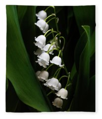 May Lily Aka Lily Of The Valley Fleece Blanket