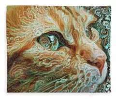Maya The Ginger Cat Fleece Blanket