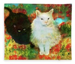 Mccartney And Silky In The Garden Fleece Blanket