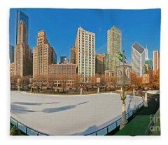 Mccormick Tribune Plaza Ice Rink And Skyline   Fleece Blanket
