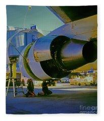 Mechanics Working On 767 Engine  Fleece Blanket