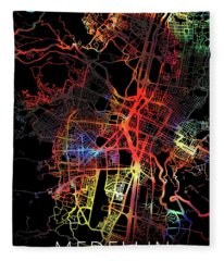 Medellin Colombia Watercolor City Street Map Dark Mode Fleece Blanket