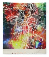 Medellin Colombia Watercolor City Street Map Fleece Blanket