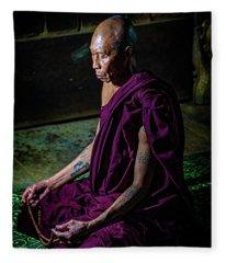 Meditating Buddhist Monk Fleece Blanket