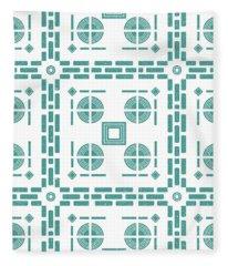 Mediterranean Pattern 5 - Tile Pattern Designs - Geometric - Blue - Ceramic Tile - Surface Pattern Fleece Blanket