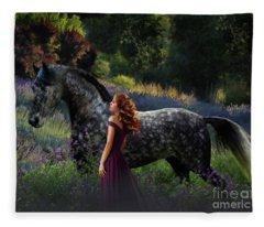 Fleece Blanket featuring the digital art Mel's Dream by Melinda Hughes-Berland