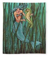 Mermaid And The Magic Seahorse Fleece Blanket