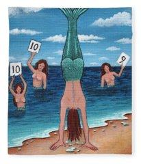 Mermaid Handstand Contest Fleece Blanket