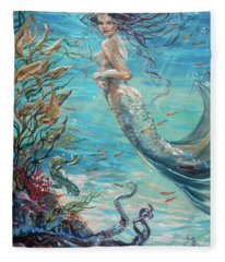 Mermaid Neighbors Fleece Blanket