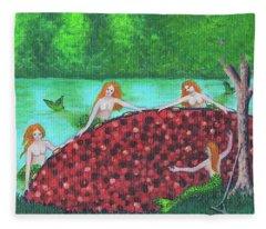 Mermaids Of The Cranberry Bog Fleece Blanket