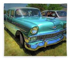 Metallic Green 1956 Chevy Sedan Fleece Blanket