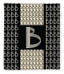 Metropolitan Park Deco 1920s Monogram Letter Initial B Fleece Blanket