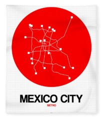 Mexico City Red Subway Map Fleece Blanket