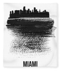 Miami Skyline Brush Stroke Black Fleece Blanket