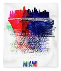 Miami Skyline Brush Stroke Watercolor   Fleece Blanket