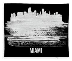 Miami Skyline Brush Stroke White Fleece Blanket