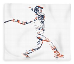 Michael Brantley Houston Astros Pixel Art 1 Fleece Blanket
