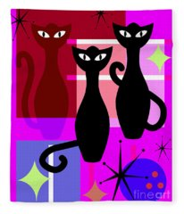 Mid Century Modern Abstract Mcm Bowling Alley Cats 20190113 M103 Fleece Blanket