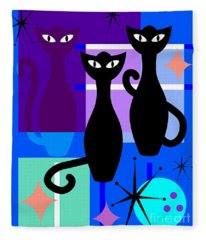 Mid Century Modern Abstract Mcm Bowling Alley Cats 20190113 M180 Fleece Blanket