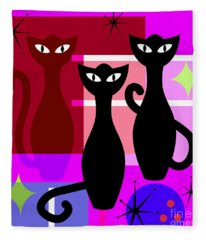 Mid Century Modern Abstract Mcm Bowling Alley Cats 20190113 Square M103 Fleece Blanket