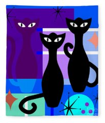 Mid Century Modern Abstract Mcm Bowling Alley Cats 20190113 Square M180 Fleece Blanket
