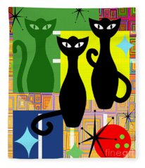Mid Century Modern Abstract Mcm Bowling Alley Cats 20190113 V2 Fleece Blanket