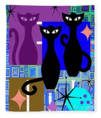 Mid Century Modern Abstract Mcm Bowling Alley Cats 20190113 V2m1 Fleece Blanket