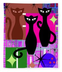 Mid Century Modern Abstract Mcm Bowling Alley Cats 20190113 V2m103 Fleece Blanket
