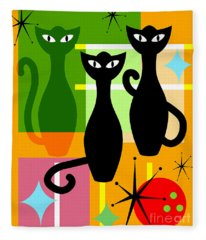 Mid Century Modern Abstract Mcm Bowling Alley Cats 20190113 Fleece Blanket