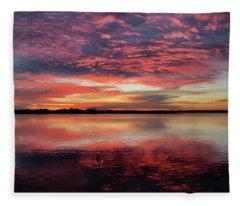 Mid October Sunset Fleece Blanket