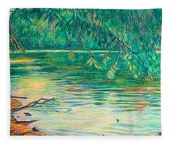 Mid-spring On The New River Fleece Blanket