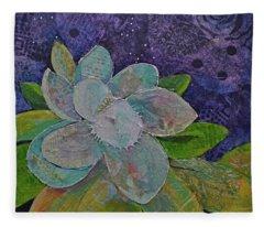 Midnight Magnolia I Fleece Blanket